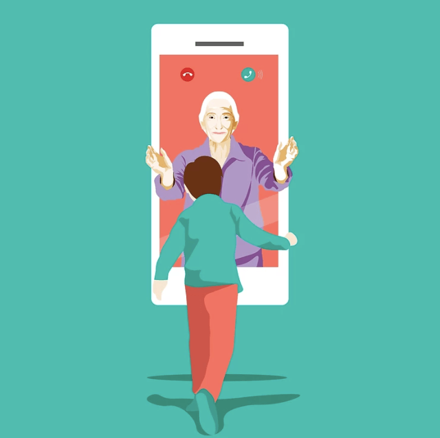 An elderly is going to meet his grandchild virtually