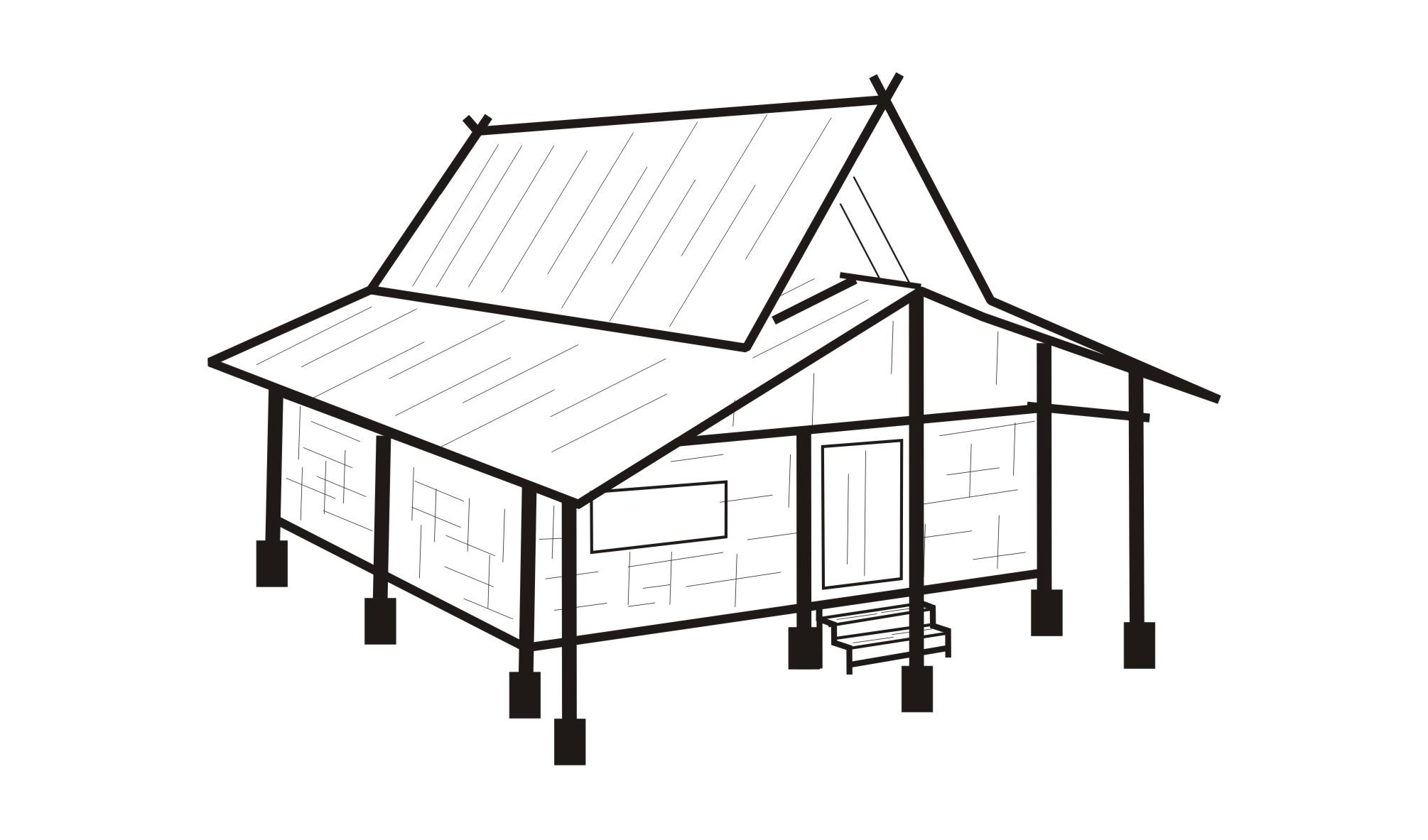 Contoh Gambar Mewarnai Rumah Panggung Kataucap