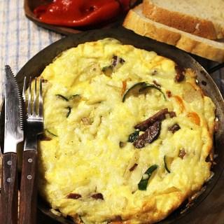 Frittata-tortillo-omleta, italiano-romano-spaniola cu ceafa afumata, oua de rata si legume.