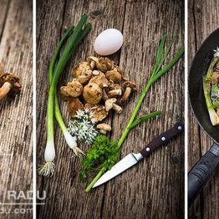 Bureti de mai cu sos de vermut si ou de rata prajit. Nicoreti.