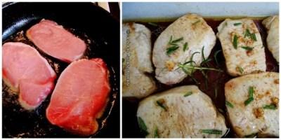 Cotlet de porc la cuptor cu rozmarin si vin rosu