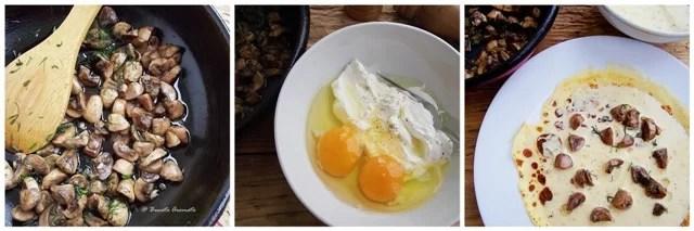 Clătite cu ciuperci şi smântână la cuptor