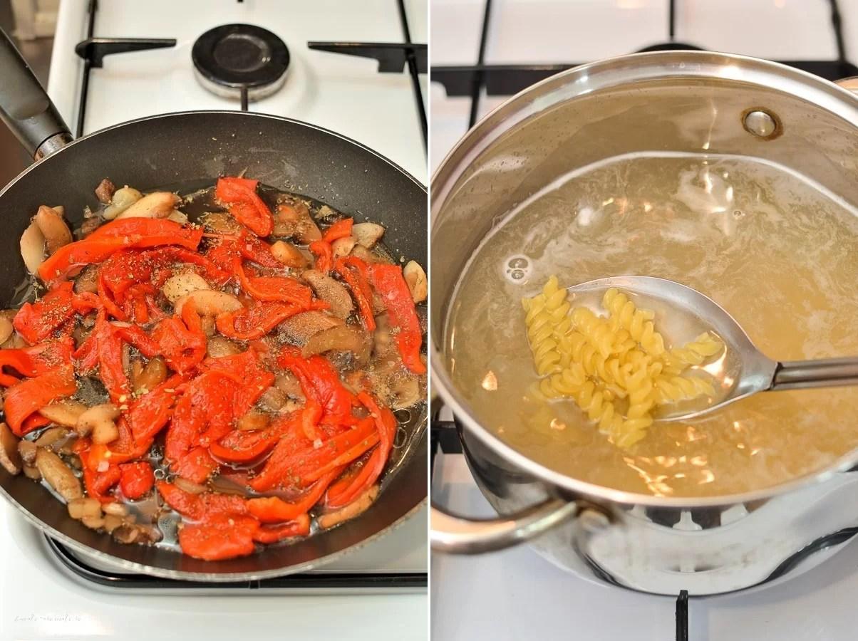 Paste cu ardei copți și ciuperci