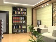 Дизайн гостиной. Стеллаж для книг.