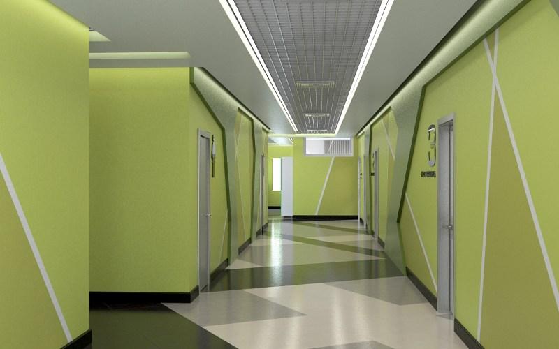 Дизайн коридора лицея 03