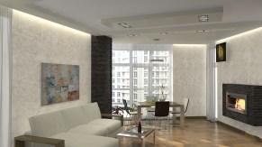 Дизайн проект трехкомнатной квартиры в Киеве. Гостиная с биокамином.