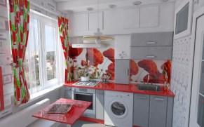 Дизайн маленькой кухни с красными маками. 01