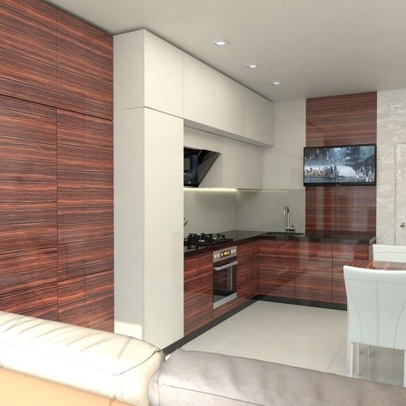Дизайн современной кухни в однокомнатной квартире