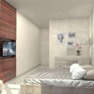 Дизайн спальни в однокомнатной квартире на Кришталевых Джерелах