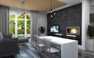 Дизайн интерьера частного дома г. Буча. Гостиная в стиле лофт.