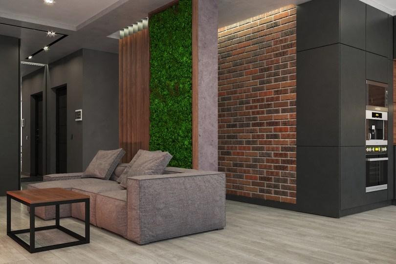 Дизайн гостиной в стиле LOFT, Декор - зелёный мох и кирпичная кладка.