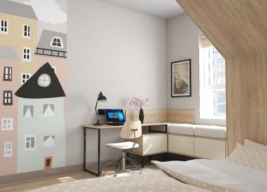 Дизайн учебной зоны и зоны отдыха в детской комнате.