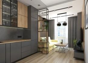 Дизайн кухни в серых тонах. Рабочая и обеденная зона.