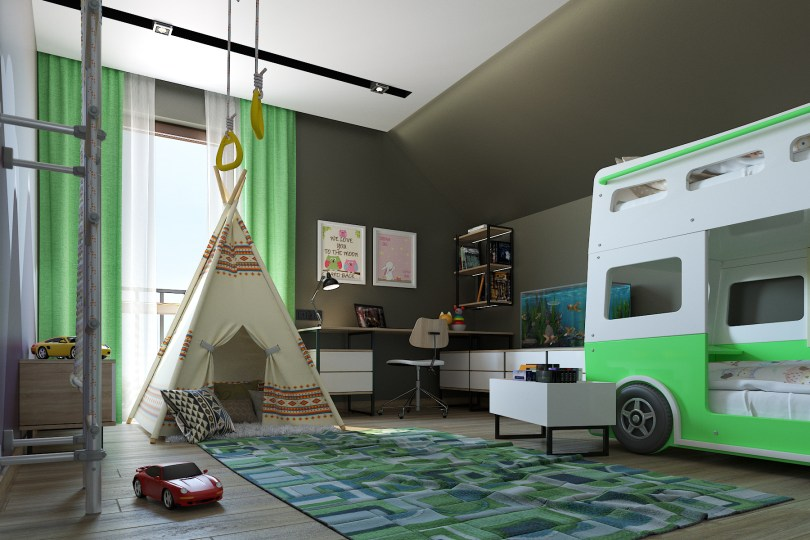 Дизайн интерьера детской для мальчика.
