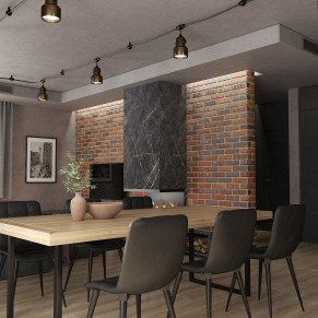 Обеденный стол в гостиной в стиле Лофт