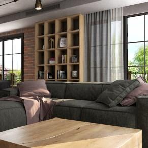 LOFT Большой диван в гостиной.