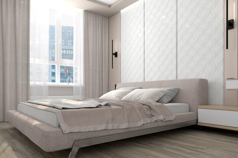 Светлая спальня в стиле минимализм. Кровать Blanche. 01