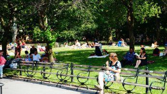 TOUTES les pelouses de la ville sont recouvertes de gens en train de bronzer... toutes!