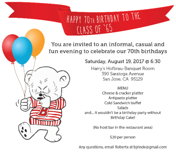 Celebrate our 70th birthdays
