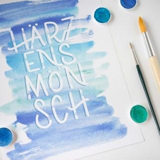 Kombiniertes Lettering Wasserfarbe&Digital