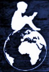 Das Logo von Weltenwanderer: Ein kind auf einer Erdkugel.