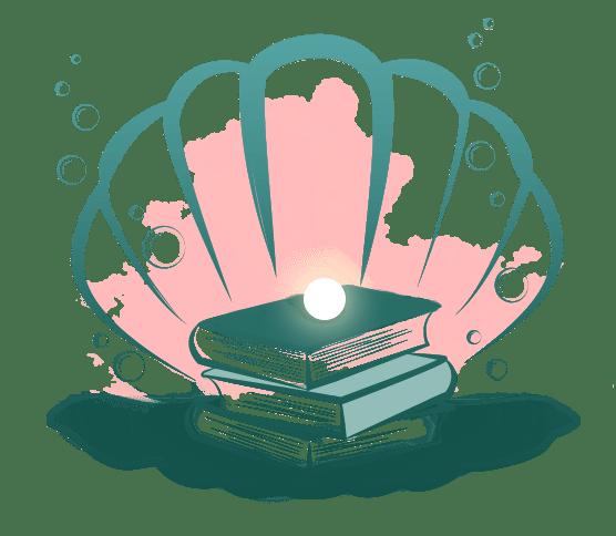 Das Logo des Blogs Buchperlenblog: Eine Muschel mit Büchern unter der Perle.