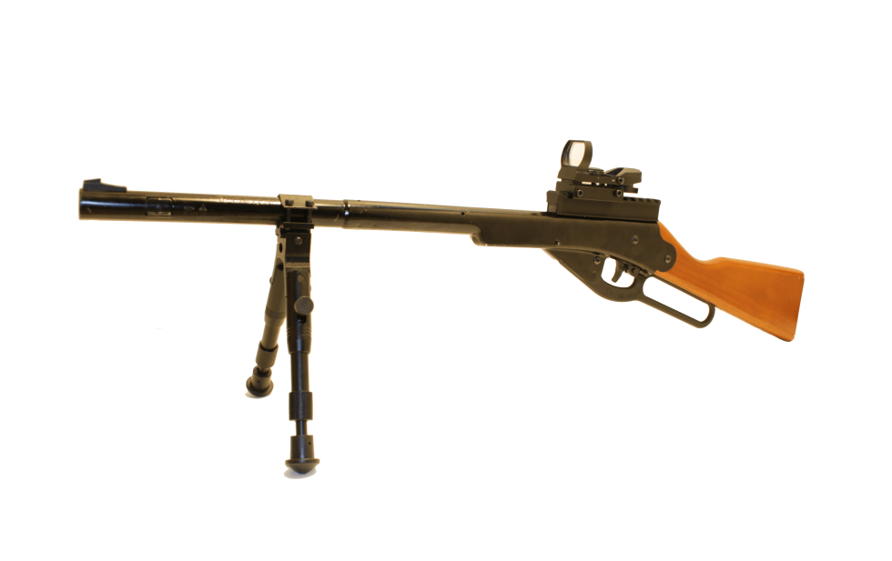 Daisy Buck 105 with Red Dot Reflex Scope and folding bipod.