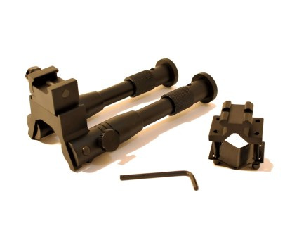 Collapsed Folding Bipod with allen wrench and barrel clamp adapter