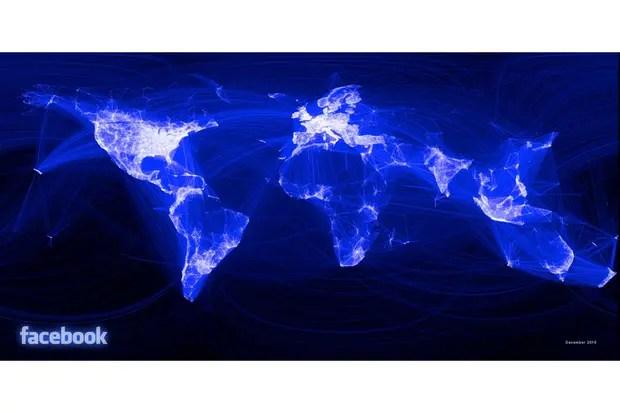 Un mapa refleja la actividad global de Facebook