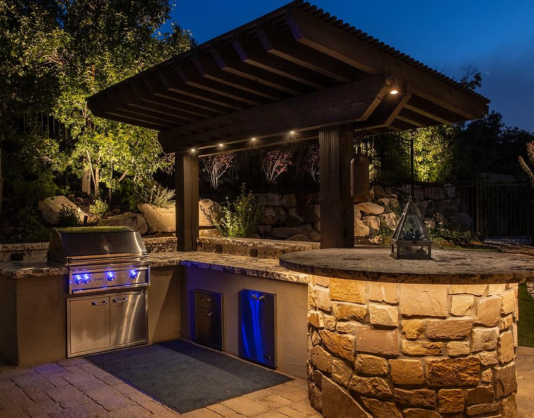 outdoor kitchen lighting providing