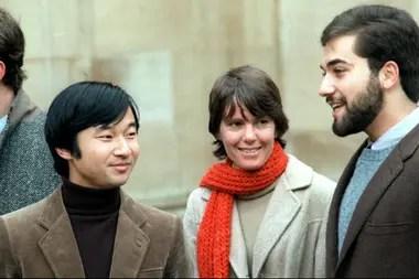 Naruhito cuando estudiaba en Oxford, en la década del 80