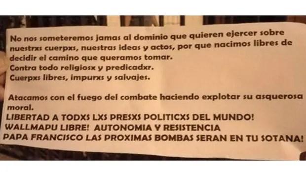 Atacaron, en Chile, la Iglesia Santa Isabel de Hungría, a dos días de la llegada del Papa a ese país