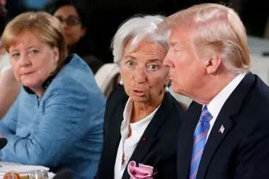 Merkel , Lagarde y Trump