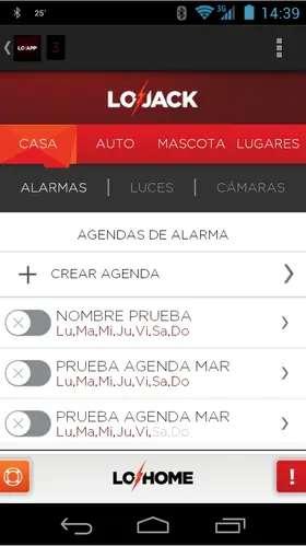 Las aplicaciones permiten también definir horarios de alarmas, de encendido de luces (si el sistema es compatible)