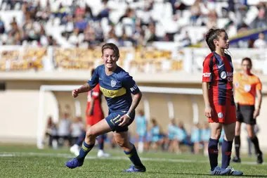 Yamila Rodríguez, from Boca, celebrates a goal in the 6-0 defeat against San Lorenzo
