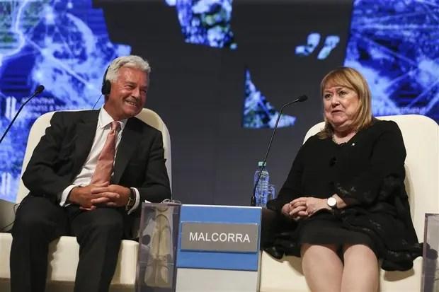 Duncan y Malcorra, anteayer, en el foro empresario