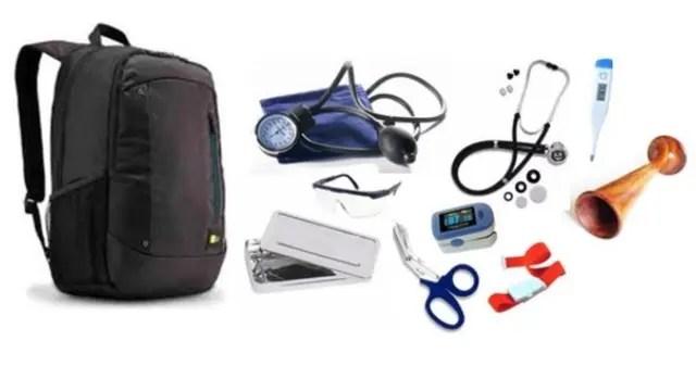 Los elementos que incluyen los kit que se entregarán a los institutos y universidades para formar enfermeros