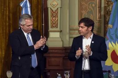 Alberto Fernández y Axel Kicillof en la presentación de la Cuenta DNI
