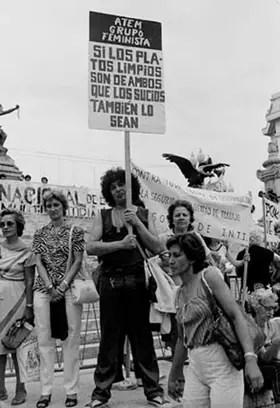 Primer Día Internacional de la Mujer en Democracia, celebración del grupo feminista ATEM.