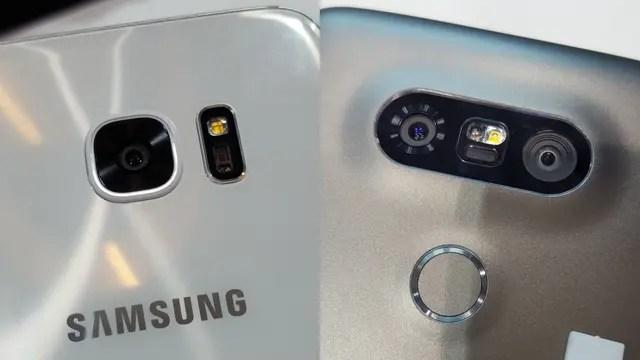 La cámara del Galaxy S7, con el monitor de ritmo cardíaco al lado, y la del LG G5, con el doble lente y, abajo, el sensor biométrico