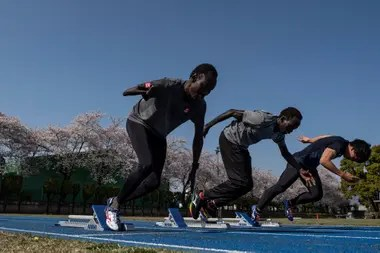 April 3, 2020. The runner paralympic of South Sudan, 100 meters and 200 meters, Michael Machiek Ting Kutjang (left) and the corridor of obstacles Joseph Akoon Akoon Akoon participate in a training session in Maebashi. The postponement of the Tokyo Olympics 2020 was a hard