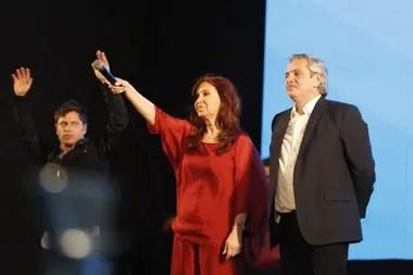 Axel Kicillof, gobernador de la provincia de Buenos Aires; Cristina Kirchner, vicepresidenta; y Alberto Fernández, presidente