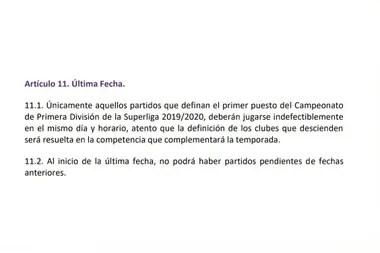 El reglamento de la Superliga obliga a jugar el partido definitorio en la misma fecha y horario.