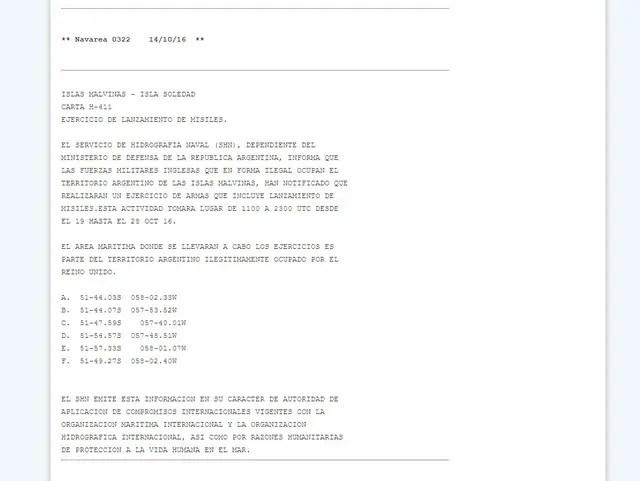 El comunicado del Servicio de Hidrografía Naval sobre el lanzamiento de misiles desde Malvinas