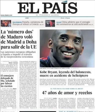 La portada de El País, de España