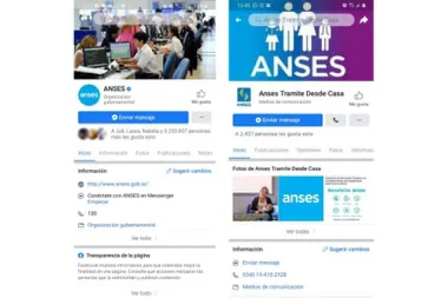 A la izquierda, la cuenta oficial de la Anses en Facebook; a la derecha, la página trucha