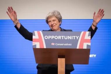 La primera ministra británica habló en el congreso del Partido Conservador