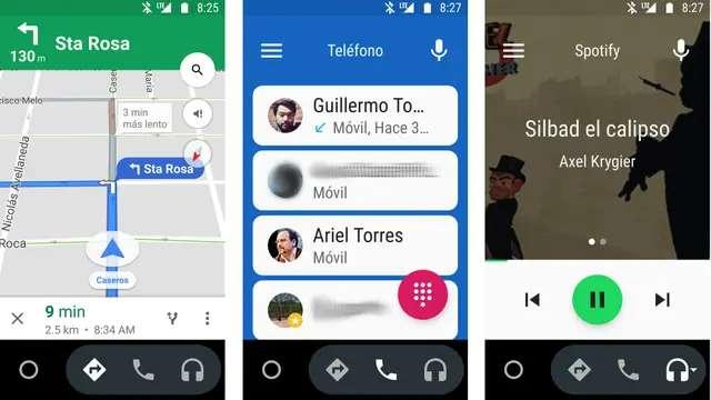 Las tres vistas de Android Auto: los mapas con navegación guiada, el teléfono, el control de la música