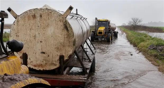 Una de las pesadillas de los tamberos: sacar la leche del ordeño por caminos inundados