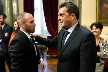 El ministro Martín Guzmán y el presidente de la Cámara de Diputados, Sergio Massa